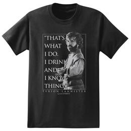 37d263bfd904 Game of Thrones Tyrion Lannister Beber e Conhecer Gráfico T-Shirt Dos Homens  2018 Marca de moda T Shirt O Pescoço 100% algodão