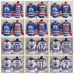 c01a25bdf Edmonton Oilers Hockey Jerseys 99 Gretzky 7 Paul Coffey 17 Kurri 31 Fuhr 11  Messier 30 Bill Ranford 89 Sam Gagner Vintage Jerseys