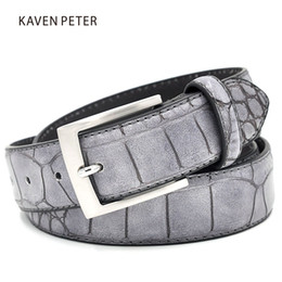 crocodile leather belts NZ - Mens Fashion Waist Belts Faux Crocodile Pattern Belts With Split Leather Luxury Crocodile Belt Men Designer Accessories