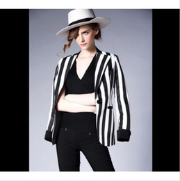 women black white striped jacket Canada - Womens Lapel Casual Blazers Black White Striped Suit Jacket Short Coat Fashion