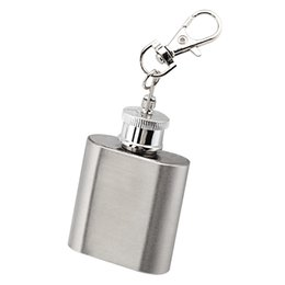 mini bottle key chain Australia - Outdoor Stainless Steel Mini Wine Flask with Key Chain Portable Buckle Whiskey Pot Vodka Bottle Water Kettle Alcohol Hip Flask