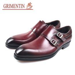 $enCountryForm.capitalKeyWord NZ - GRIMENTIN Fashion brand mens wedding shoes hot sale formal men dress shoes genuine leather double buckle brown black business man shoes