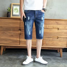 $enCountryForm.capitalKeyWord Canada - High quality fashion denim shorts men 2018 summer cotton hole simple style men's casual shorts small fresh jeans Knee Length