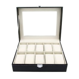 Sets Velvet NZ - SZanbana Watch Box Display Case Organizer - 10 Slot Luxury Set with Glass Top Pu Leather Velvet Pillows Metal Lock