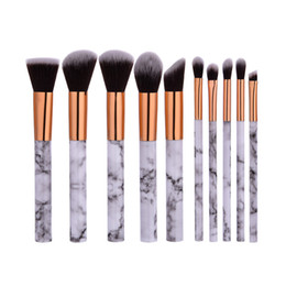Style Facial Hair Australia - 10Pcs Makeup Brushes set Marbel Style High Quality Plastic Handle Synthetic Hair Microbrush Facial Use Brushes kit G10085