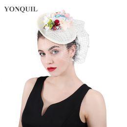 $enCountryForm.capitalKeyWord NZ - Beige Bridal imitation linen Fascinator headwear Engagement Occasion Hat with dots veils for Kentucky Derby Church Wedding Party SYF409