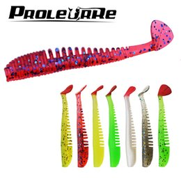 Soft Bait Pike NZ - 10pcs lot Soft Fishing Lure Silicone Shad Worm Bait 80mm 2.5g Swimbait Vivid Pike Bass Lure isca artificial Fishing Tackle Y18100906