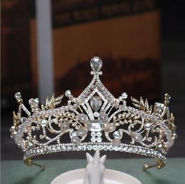 $enCountryForm.capitalKeyWord Australia - Classic luxurious crown wedding bridle headwear Gold Crystal Hair Accessories