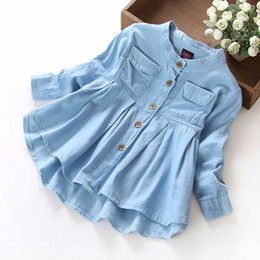 trolls baby clothes Canada - 2018 New Children trolls long sleeve falbala dresses Girl denim shirt dress baby kids clothes for 2-8years