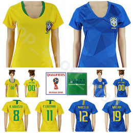 Women 19 WILLIAN Soccer Jersey 2018 World Cup 1 ALISSON 8 AUGUSTO 10 PELE  15 PAULINHO Home Away Lady Football Shirt Kits Personalized 0f4db625f