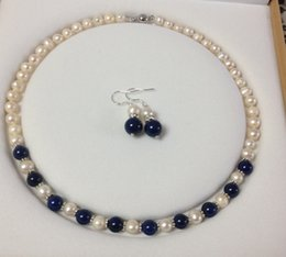 $enCountryForm.capitalKeyWord Australia - Charming!8-9mm White Akoya Cultured Pearl Lapis Lazuli necklace earrings set