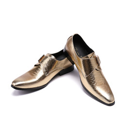 Christia Bella New British Style Genuine Leather Bushiness Shoes for Men  Formal Oxfords Gold Dress Shoes Men Wedding Party Shoes 69d3fbb0697b
