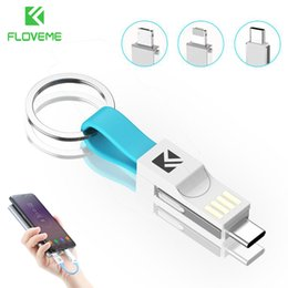 $enCountryForm.capitalKeyWord NZ - FLOVEME 3 in 1 Mini Keychain USB Cable Micro USB Type C For Lightning For Charger Data Sync Charging Cable Cabo Cord
