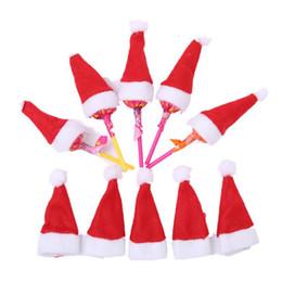 Christmas Ornament Caps NZ - 24pcs lot Xmas Christmas Decorations Mini small lollipop lolly Santa Claus Hats Cap Wrap Decorations 40% off