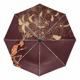 $enCountryForm.capitalKeyWord Canada - Skull with Flower Painting Folding Sunny and Rainy Umbrella Fully-automatic Outer Black Coating UV Protection Umbrellas for Men