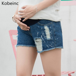 7a454aad25634 Kobeinc 2018Summer Shorts Premama with Paint Hole Maternity Jeans Short  Care Belly Fashion Denim For Pregnant Trouser Lady Pants