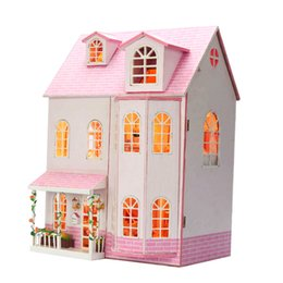 model house kit diy UK - Dream of The Fairy Tale Christmas Gifts Miniature DIY Doll House Model Kits Wooden Furniture Toy Birthday Gifts for Child Friend