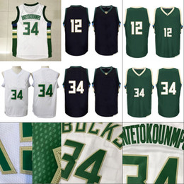 Mens 12 Jabari Parker 34 Giannis Antetokounmpo Basketball Jerseys 100%  Stitched Basketball Jerseys High Quality Free Shipping White Black f91668b17