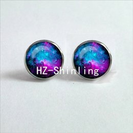 galaxy stud UK - NES-0027 Nebula Galaxy Earrings Orion Nebula Glass Earrings Spiral Galaxy Jewelry Studs Earrings Glass Cabochon HZ4