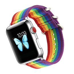 China For iwatch Sport Woven Nylon strap For Apple Watch Band 42mm 38mm iwatch series 3 2 1 Rainbow Wrist Bands Bracelet Watchband Belt suppliers