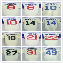 Throwback Beige white Stripe Men Jersey 8 Dawson 18 Zobrist 14 Banks 10 Ron  Santo 49 Arrieta Maddon 22 Heyward Baseball jerseys 07011671e