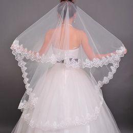 $enCountryForm.capitalKeyWord Australia - 2018 Free Shipping Wedding Accessories Hot Sale White One-layer Bridal Veils Lace Edge Bridal Wedding Veil Veu De Noiva