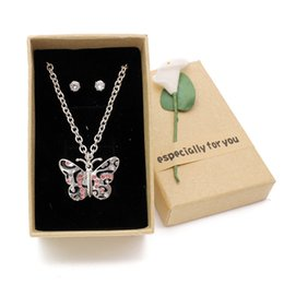 $enCountryForm.capitalKeyWord NZ - Cute Kids Jewelry Set Butterfly Necklace Women Silver Chain Pink Rhinestone Necklace For Girls Daughter Christmas Children Gift With Box