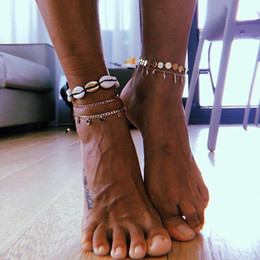 Bohemian Woven Shell Flower Ankle Bracelet Fashion Handmade Braid Weave Beads Anklets Beach Foot Jewelry for Women on Sale