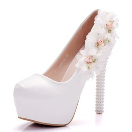 366f426d0f1 Women High Heels Platform Pumps Round Toe Pearl White Wedding Shoes Slip-On  Stiletto Heels Sexy Ladies Shoes Pumps