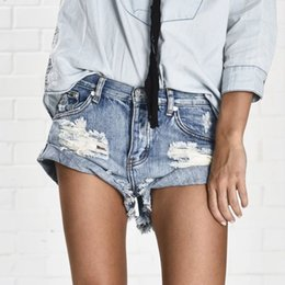 Thong hole online shopping - Vintage ripped hole fringe denim thong shorts women sexy pocket one teaspoon jeans shorts summer girl hot denim booty short