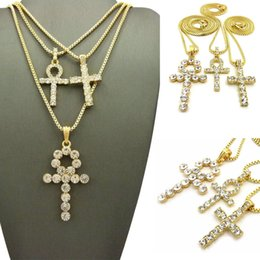 Discount crossed keys necklace MENS GOLD ICED OUT EGYPTIAN KEY OF LIFE ANKH CROSS,BOX & ROPE CHAIN NECKLACE SET OF 3