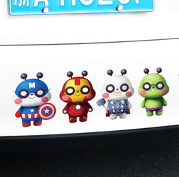 cute cartoon avengers NZ - Personalized Cute Car Stickers The Avengers Sticker PVC 4 Little Figure Decals Superman Iron Man Car Exterior Decoration