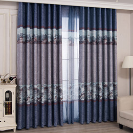 blackout fabric NZ - Chinese Ink Style Printing Blackout Curtains for Living Room Characters Architecture Curtain for Bedroom Hand Drawing Curtain Fabric