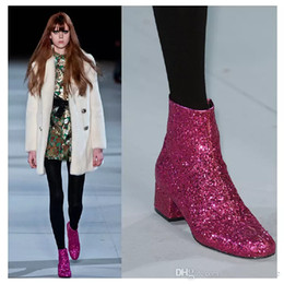Wholesale Gold Sliver Rose Red Runway New Fashion Boots Celebrity Women Sparkle Shiny Sequins Ankle Boots Glitter Shoes Women Zip
