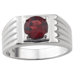 $enCountryForm.capitalKeyWord UK - 8mm Natural Red Garnet Men Ring 925 Sterling Silver Jewelry Round Shape Real Crystal Gemstone January Birthstone Birthday Gift R516RGN