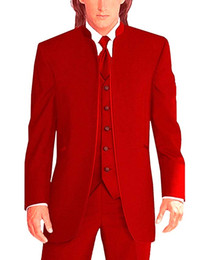 red tuxedos NZ - Newest Groomsmen Red Groom Tuxedos Mandarin Lapel Men Suits Wedding Best Man Bridegroom (Jacket + Pants + Vest + Tie) L172