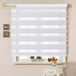 Discount white color windows - 100% Polyester Translucent Modern White Color Zebra Blinds Customized Curtains For Living Room