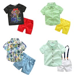 China 3-7T Boys Tops+Shorts Plaid Shirt Floral Printed Clothing Sets Parrot T-shirts Round-neck Kids Cartoon Tops Elephant Boys Summer Clothes suppliers