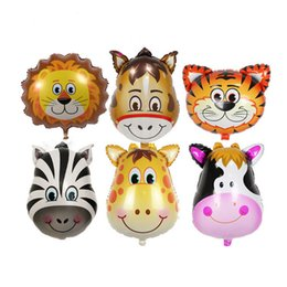 yellow monkey toy UK - Kawaii Animal Foil Balloons Wholesale Automatic Sealing Kids Balloon Toys Lion Monkey Zebra Tiger Party Decoration Balloon