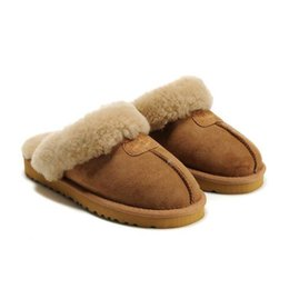 China Selling 2018 women winter slippers Fashion warm leather snow drag Leather boots, women's slippers Have a comfortable wool inside suppliers
