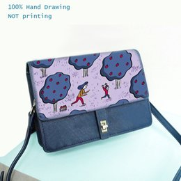 $enCountryForm.capitalKeyWord NZ - Gamystye Hand Drawing Tree Prints Crossbody Bags Lock Hasp Genuine Leather Women Handbags Blue Mini Ladies Female Clutch Bag Bolsas
