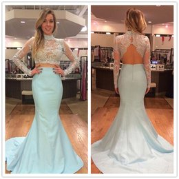 Wholesale Two Pieces Dress Sheer Long Sleeves Prom Dresses Long High Neck Lace Appliques Beaded Sexy Backless Fomal Wear Evening Party Gowns