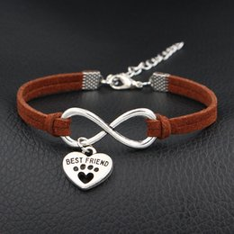 $enCountryForm.capitalKeyWord Canada - Afshor 2018 Braided Brown Leather Suede Cuff Charm Bangles & Bracelet Fashion Infinity Best Friend Dog Claw Paw Heart Jewelry For Women Men