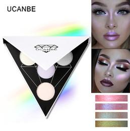 Wholesale Glitter Lips Australia - Triangle Glitter Eyeshadow Palette Holographic Shade Eye Lip Face Makeup Shimmer Shine Powder Nude Eye Shadow