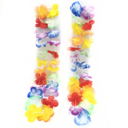 $enCountryForm.capitalKeyWord UK - Wholesale-100pcs lot artificial Hawaiian leis Party Supplies Garland Necklace Colorful Fancy Dress Hawaii Beach Fun Luau Party flowers