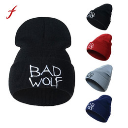 $enCountryForm.capitalKeyWord UK - Feitong Hot Caps Unisex Bad wolf Letter Embroidery Fashion Keep Warm Wool Knitted Earmuffs Beanies Hats Caps For Men Women 2017