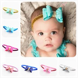 $enCountryForm.capitalKeyWord NZ - Baby Girls Headbands PVC Bright Surface Hair Bows Bands Toddler Princess Hairbands Kids Fashion Accessories 16 Colors