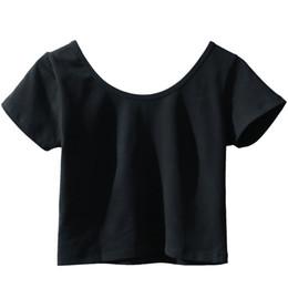 $enCountryForm.capitalKeyWord UK - Girls Crop Top Yoga Wear Short Sleeve Gym Sport Shirt Women Yoga Top Fitness Shirt Solid Color Dance Tops
