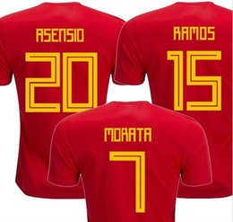 Thailand camisetas de futbol ASENSIO MORATA ESPANA Spain soccer jerseys  world cup 2018 RAMOS INIESTA football shirt Camisa maillot de foot a91595fb6