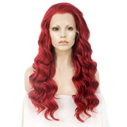 Long Hair Wave Style Australia - Halloween New Style Red Synthetic Lace Front Wig Body Wave Long Hair Wigs For Women Heat Resistant Fiber Glueless Cosplay Wig Free Part